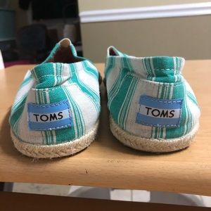 Toms Shoes - Toms Espadrille flAts green white stripe 9